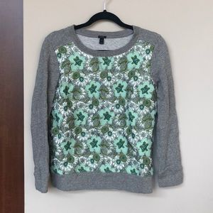 J. Crew gray sweater with floral metallic panel